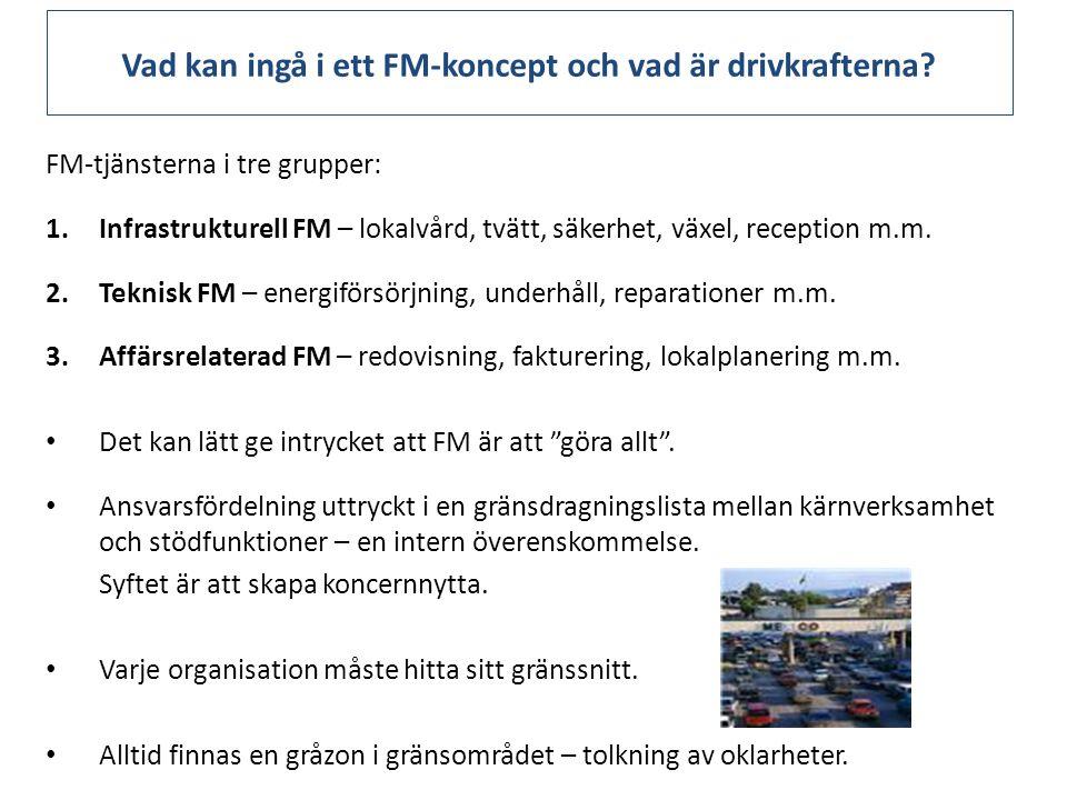 Vad kan ingå i ett FM-koncept och vad är drivkrafterna? FM-tjänsterna i tre grupper: 1.Infrastrukturell FM – lokalvård, tvätt, säkerhet, växel, recept
