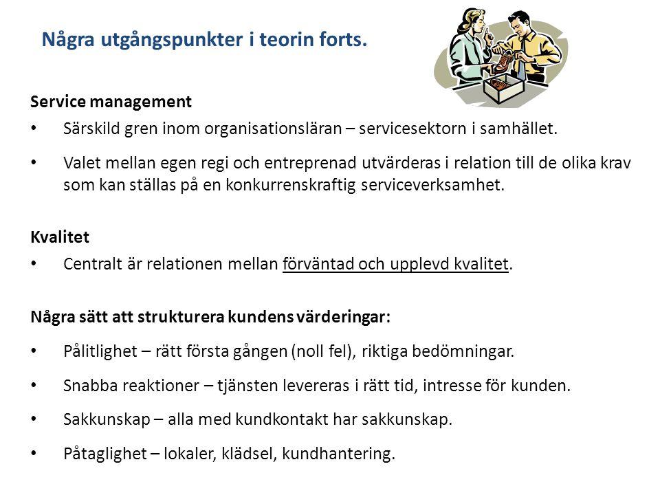 Några utgångspunkter i teorin forts. Service management Särskild gren inom organisationsläran – servicesektorn i samhället. Valet mellan egen regi och