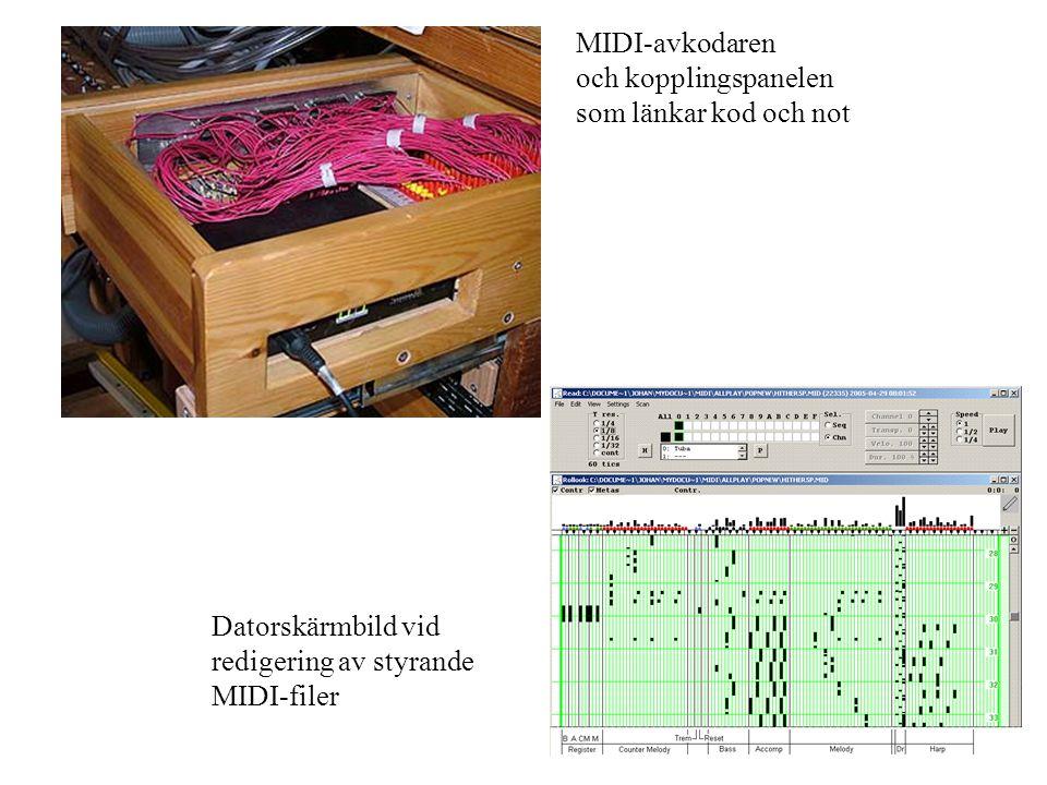 MIDI-avkodaren och kopplingspanelen som länkar kod och not Datorskärmbild vid redigering av styrande MIDI-filer