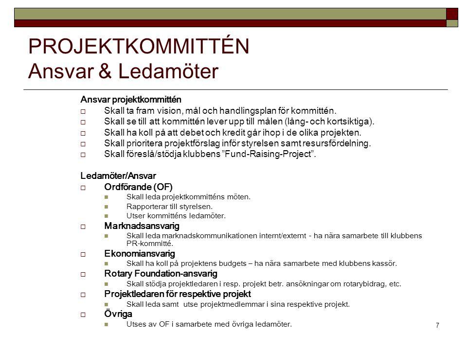 7 PROJEKTKOMMITTÉN Ansvar & Ledamöter Ansvar projektkommittén  Skall ta fram vision, mål och handlingsplan för kommittén.