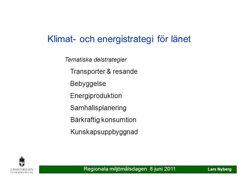 Klimat- och energistrategi för länet Ny klimat- och energipolitik för Sverige 2009 40% minskning av klimatpåverkande gaser till 2020 50% av energianvändning från förnybara källor 2020 10% förnybar energi i transportsektor 2020 20% effektivare energianvändning 2020 visionen: inga klimatpåverkande utsläpp 2050 Regionala miljömålsdagen 8 juni 2011 Lars Nyberg