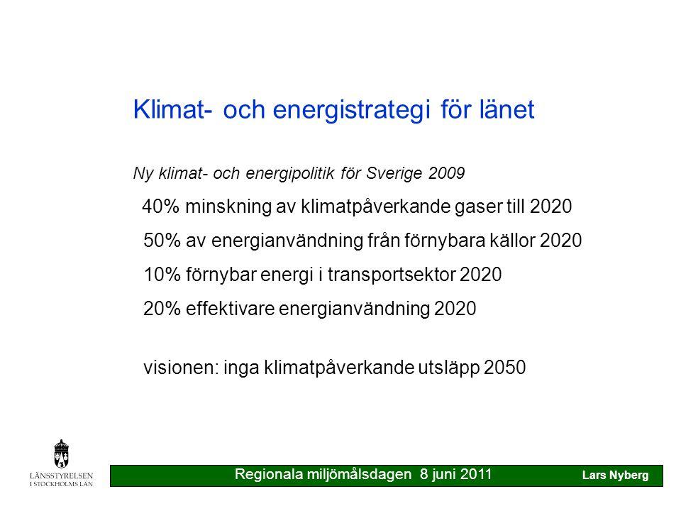 Klimat- och energistrategi för länet Länets förutsättningar 14% av landets energianvändning 60% av länets energianvändning i bebyggelsen 60% av länets klimatpåverkande utsläpp från transporter 30% av vår energiförbrukning i maten Regionala miljömålsdagen 8 juni 2011 Lars Nyberg