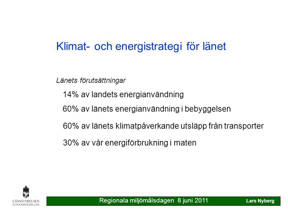 Klimat- och energistrategi för länet Relation till andra regionala processer Investeringsplaner för infrastruktur Fysisk planering RUFS handlingsprogram för klimat & energi fjärrvärme avfall biogas samhällsplanering Regionala miljömålsdagen 8 juni 2011 Lars Nyberg