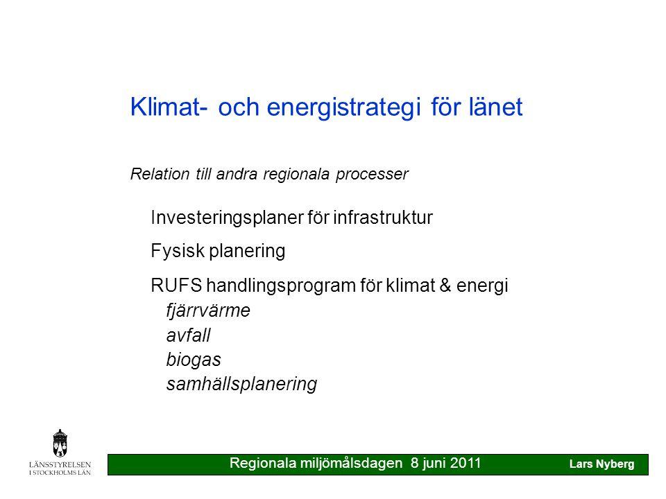 Klimat- och energistrategi för länet Tekniska & ekonomiska styrmedel klarar bara 50% av erforderlig minskning av utsläppen till 2050 Offensivt klimatarbete ger handlingsfrihet, utvecklingsmöjligheter för företagen & en attraktiv region Utsläpp som hanteras inom utsläppshandel ej påverkbara Regionala miljömålsdagen 8 juni 2011 Lars Nyberg