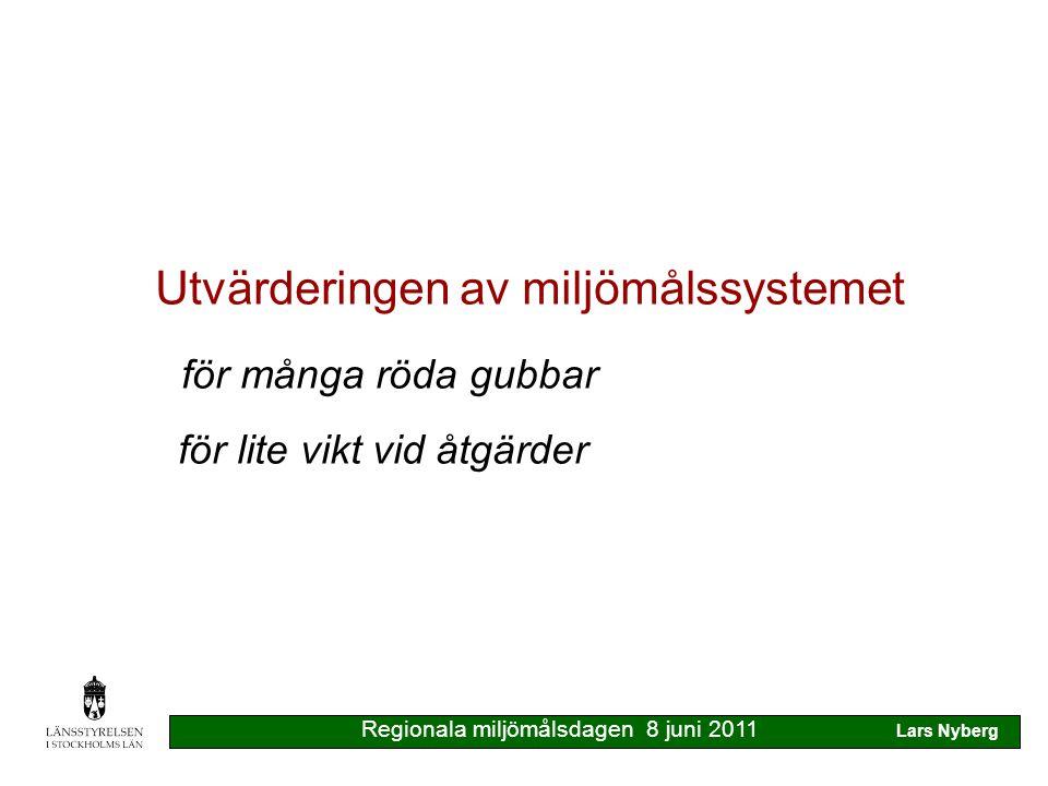 Kommunernas synpunkter målen förutsätter samarbete inte alla 15 målen samtidigt Lst föreslår turordning för målen kommunerna beslutar & genomför åtgärder Lst sammanställer för överblick Regionala miljömålsdagen 8 juni 2011 Lars Nyberg