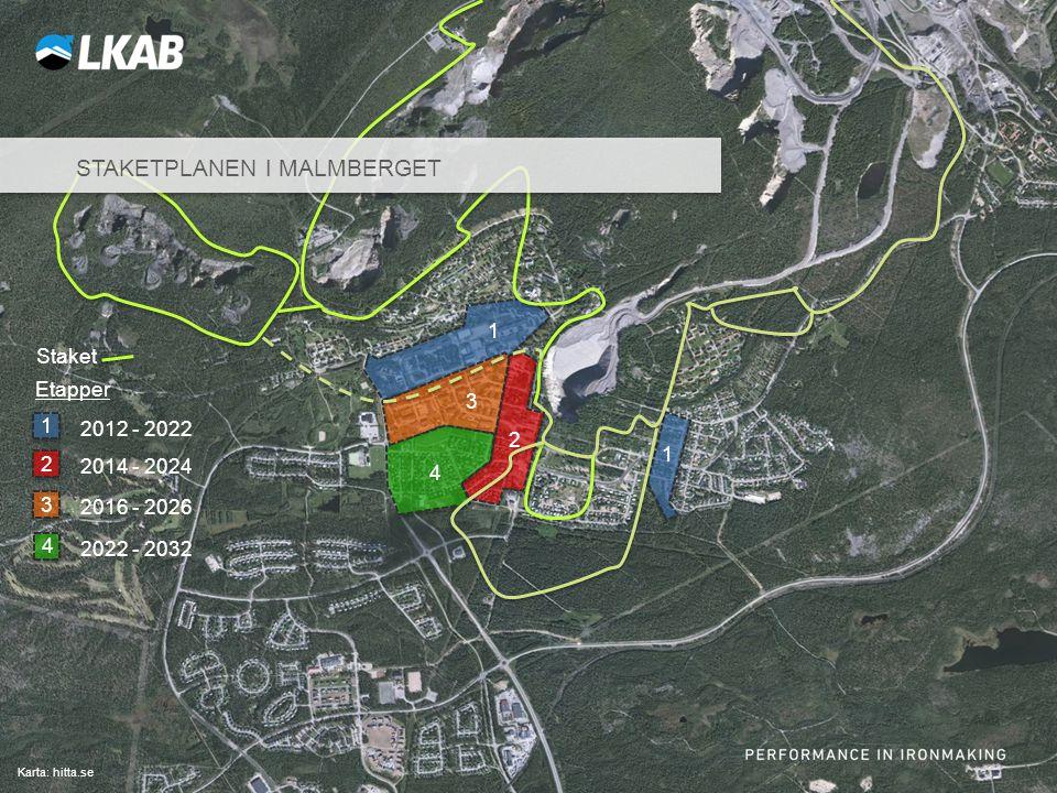 Sv Karta: hitta.se 2012 - 2022 1 1 1 Etapper Staket STAKETPLANEN I MALMBERGET 2014 - 2024 2 2 2016 - 2026 3 3 4 2022 - 2032 4
