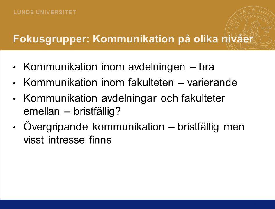 14 L U N D S U N I V E R S I T E T Fokusgrupper: Kommunikation på olika nivåer Kommunikation inom avdelningen – bra Kommunikation inom fakulteten – va
