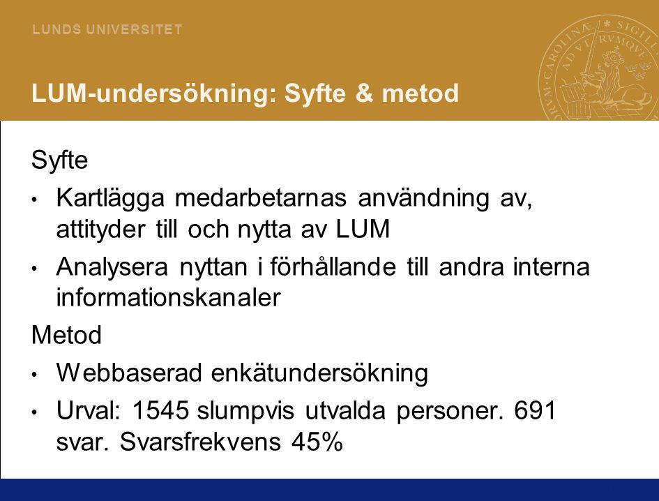 16 L U N D S U N I V E R S I T E T LUM-undersökning: Syfte & metod Syfte Kartlägga medarbetarnas användning av, attityder till och nytta av LUM Analys
