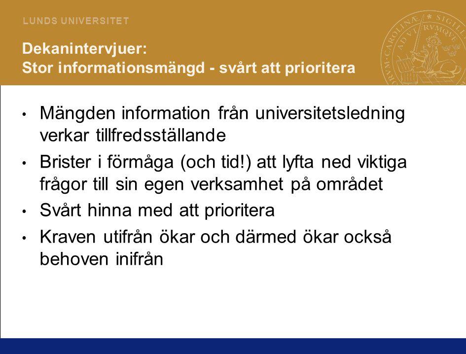 4 L U N D S U N I V E R S I T E T Dekanintervjuer: Stor informationsmängd - svårt att prioritera Mängden information från universitetsledning verkar t