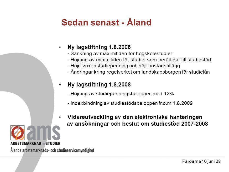 Sedan senast - Åland Ny lagstiftning 1.8.2006 - Sänkning av maximitiden för högskolestudier - Höjning av minimitiden för studier som berättigar till studiestöd - Höjd vuxenstudiepenning och höjt bostadstillägg - Ändringar kring regelverket om landskapsborgen för studielån Ny lagstiftning 1.8.2008 - Höjning av studiepenningsbeloppen med 12% - Indexbindning av studiestödsbeloppen fr.o.m 1.8.2009 Vidareutveckling av den elektroniska hanteringen av ansökningar och beslut om studiestöd 2007-2008 Färöarna 10 juni 08
