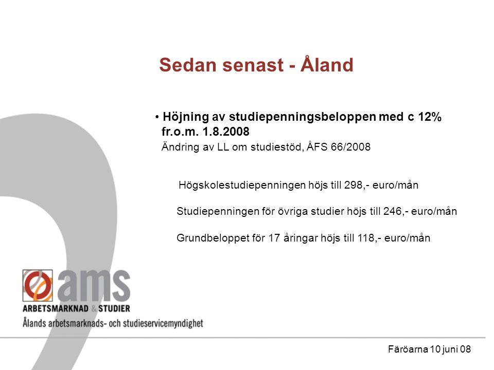 Sedan senast - Åland Höjning av studiepenningsbeloppen med c 12% fr.o.m.