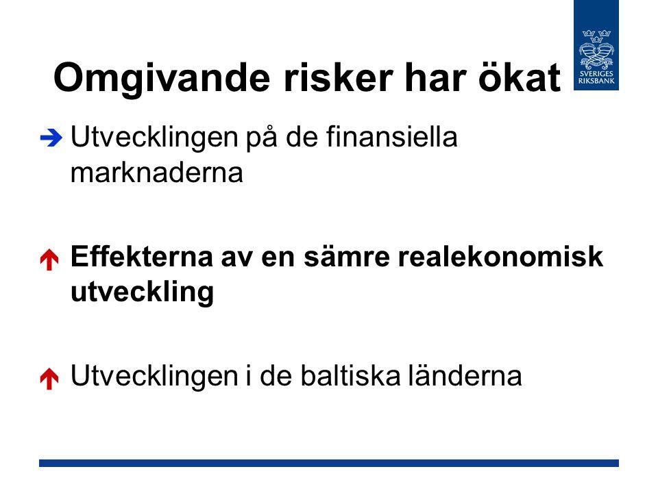 Omgivande risker har ökat  Utvecklingen på de finansiella marknaderna  Effekterna av en sämre realekonomisk utveckling  Utvecklingen i de baltiska länderna