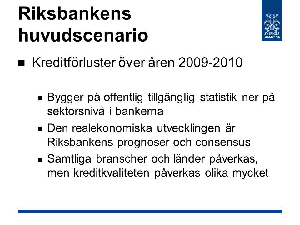 Riksbankens huvudscenario Kreditförluster över åren 2009-2010 Bygger på offentlig tillgänglig statistik ner på sektorsnivå i bankerna Den realekonomiska utvecklingen är Riksbankens prognoser och consensus Samtliga branscher och länder påverkas, men kreditkvaliteten påverkas olika mycket