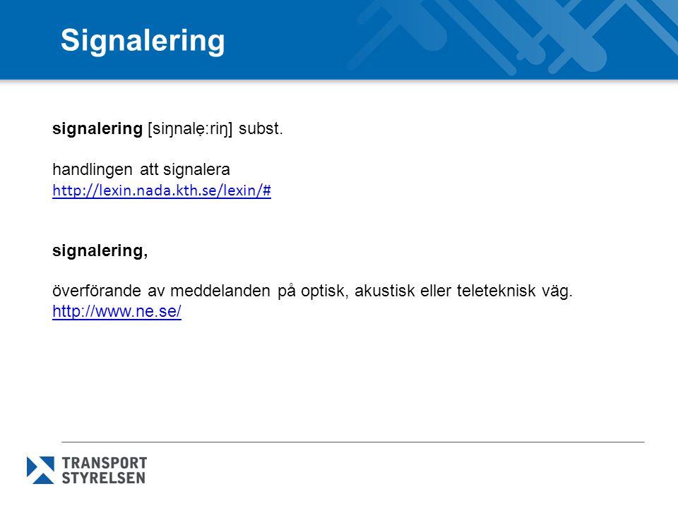 Signalering signalering [siŋnalẹ:riŋ] subst.