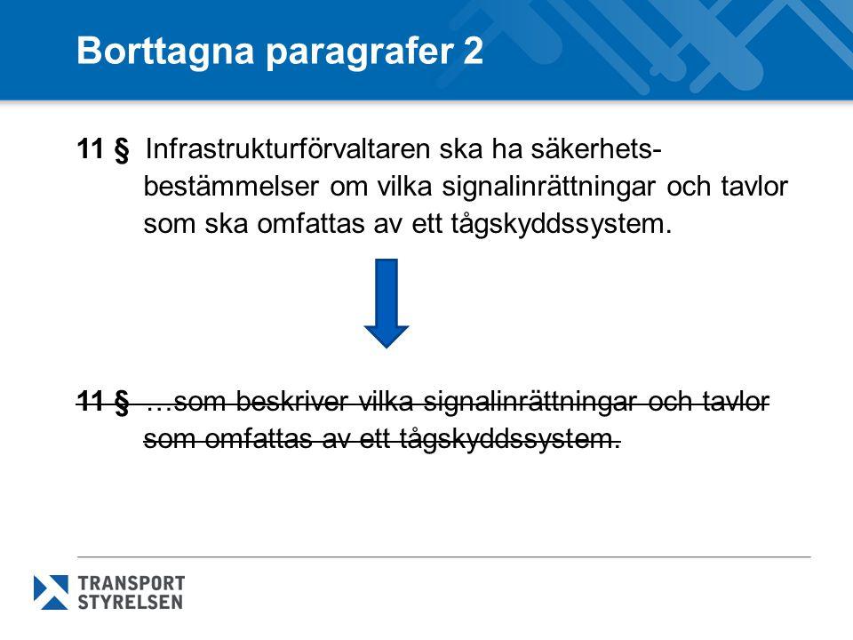 Borttagna paragrafer 2 11 § Infrastrukturförvaltaren ska ha säkerhets- bestämmelser om vilka signalinrättningar och tavlor som ska omfattas av ett tågskyddssystem.