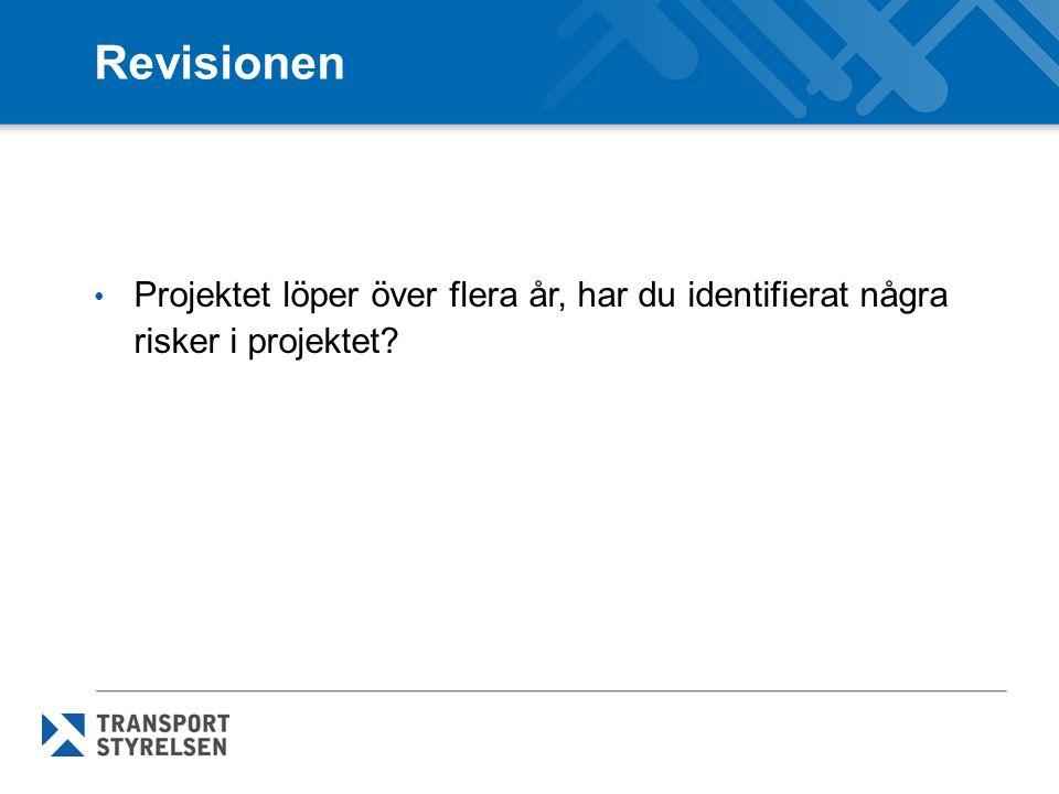 Revisionen Projektet löper över flera år, har du identifierat några risker i projektet
