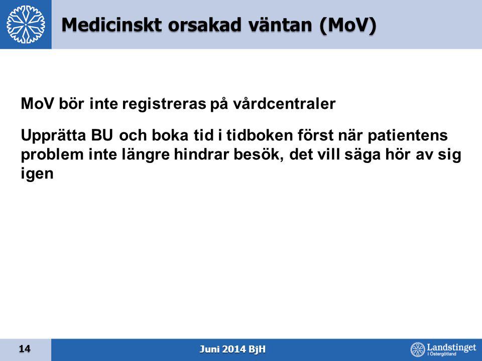 14 Juni 2014 BjH MoV bör inte registreras på vårdcentraler Upprätta BU och boka tid i tidboken först när patientens problem inte längre hindrar besök,