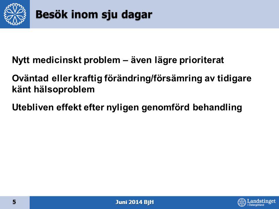 5 Juni 2014 BjH Nytt medicinskt problem – även lägre prioriterat Oväntad eller kraftig förändring/försämring av tidigare känt hälsoproblem Utebliven e