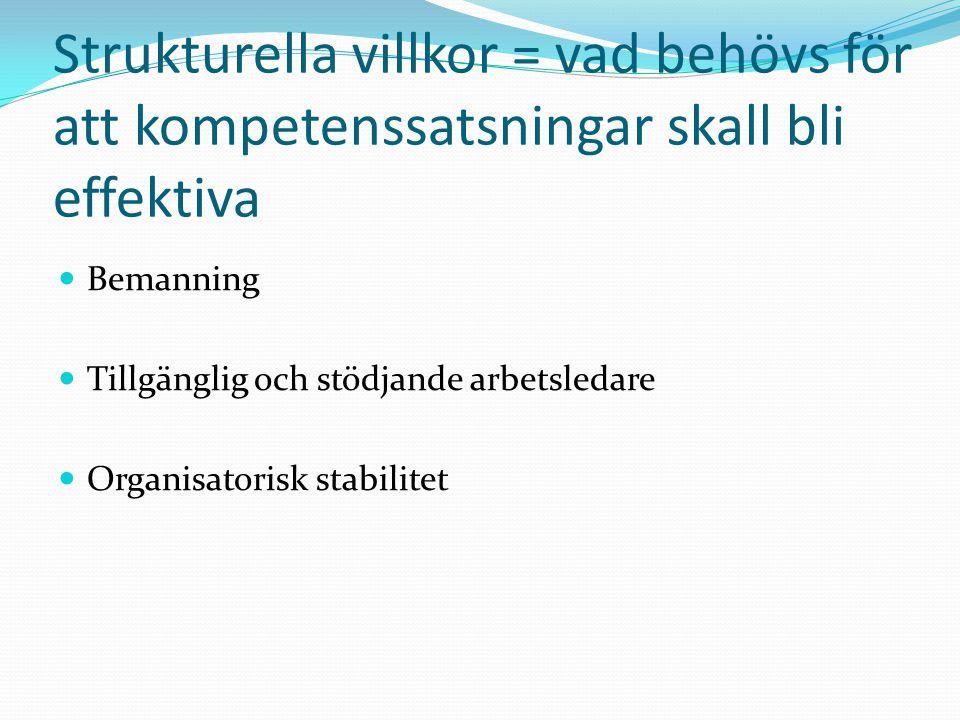 Strukturella villkor = vad behövs för att kompetenssatsningar skall bli effektiva Bemanning Tillgänglig och stödjande arbetsledare Organisatorisk stabilitet