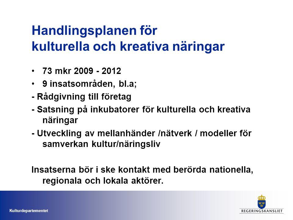 Kulturdepartementet Handlingsplanen för kulturella och kreativa näringar 73 mkr 2009 - 2012 9 insatsområden, bl.a; - Rådgivning till företag - Satsning på inkubatorer för kulturella och kreativa näringar - Utveckling av mellanhänder /nätverk / modeller för samverkan kultur/näringsliv Insatserna bör i ske kontakt med berörda nationella, regionala och lokala aktörer.