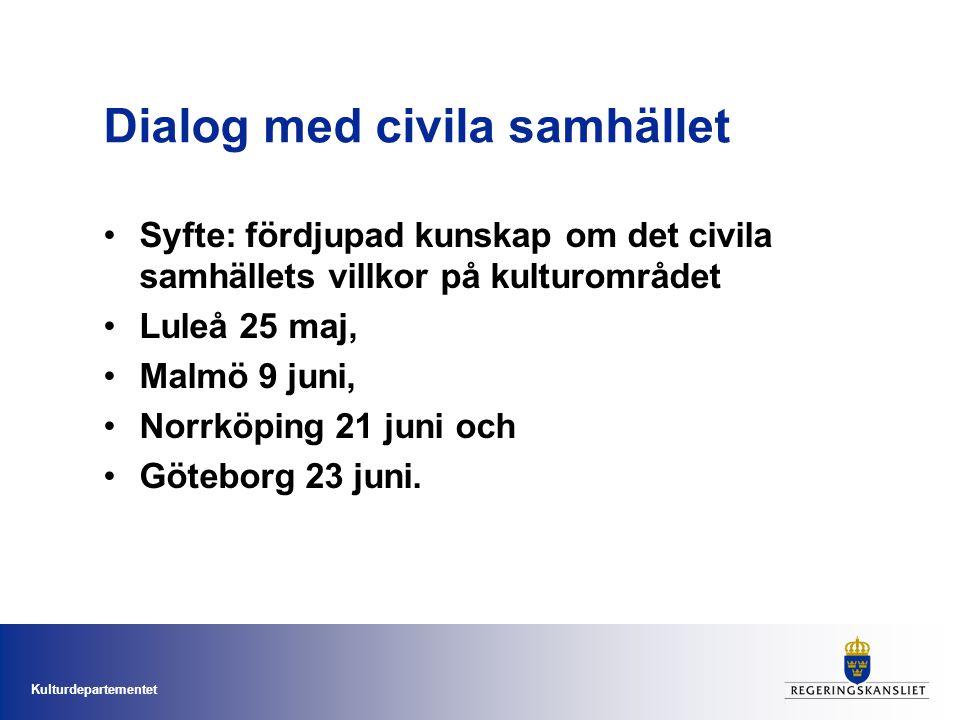 Kulturdepartementet Dialog med civila samhället Syfte: fördjupad kunskap om det civila samhällets villkor på kulturområdet Luleå 25 maj, Malmö 9 juni, Norrköping 21 juni och Göteborg 23 juni.