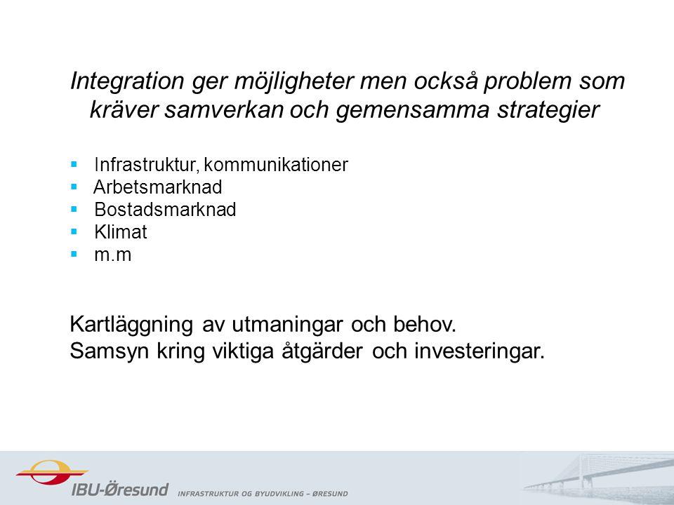 2014-08-204 Integration ger möjligheter men också problem som kräver samverkan och gemensamma strategier  Infrastruktur, kommunikationer  Arbetsmarknad  Bostadsmarknad  Klimat  m.m Kartläggning av utmaningar och behov.