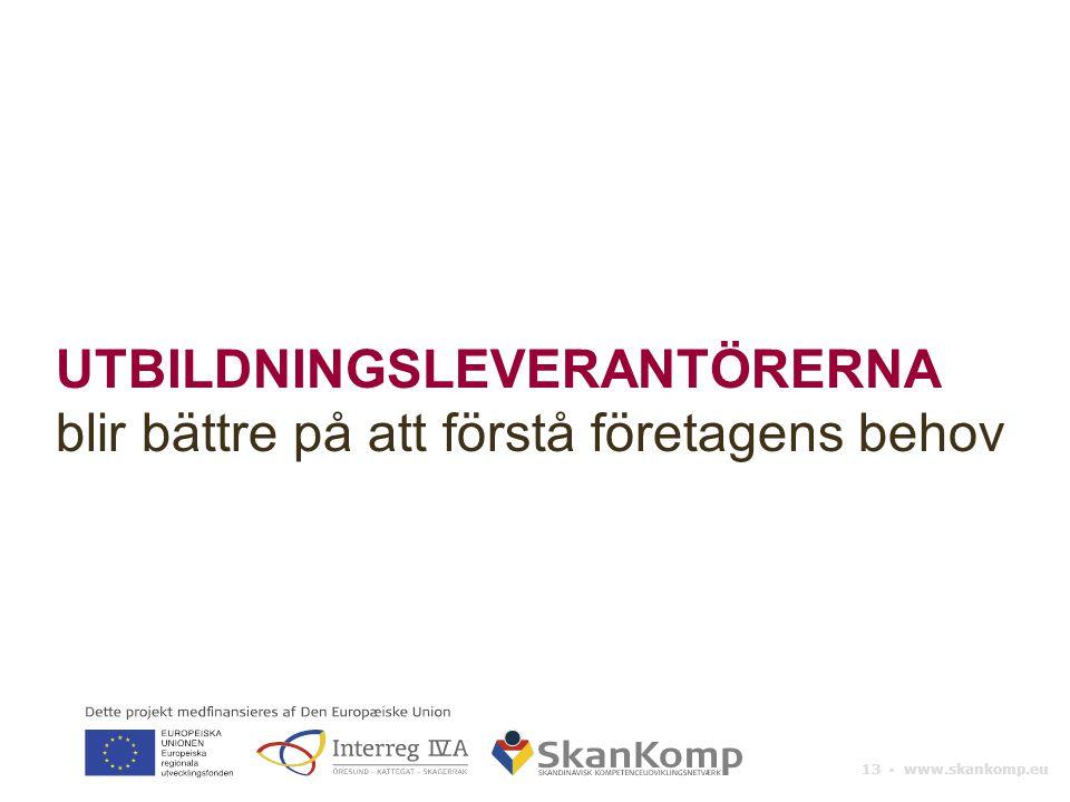 13 ▪ www.skankomp.eu UTBILDNINGSLEVERANTÖRERNA blir bättre på att förstå företagens behov