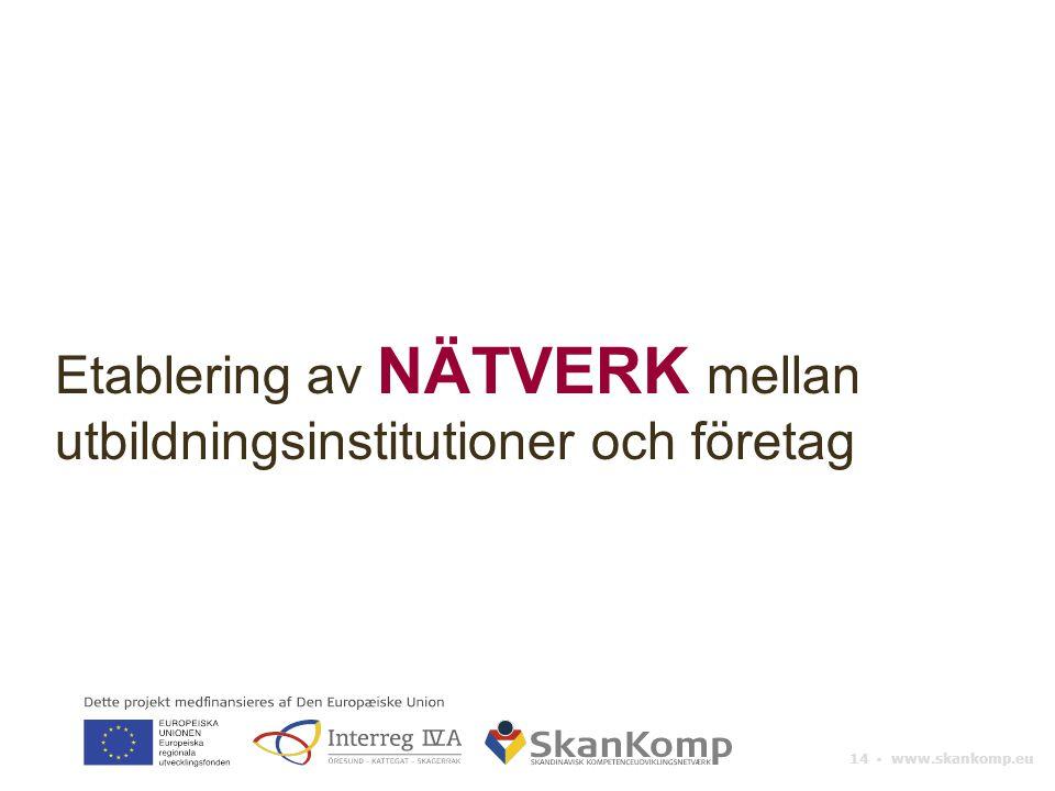 14 ▪ www.skankomp.eu Etablering av NÄTVERK mellan utbildningsinstitutioner och företag