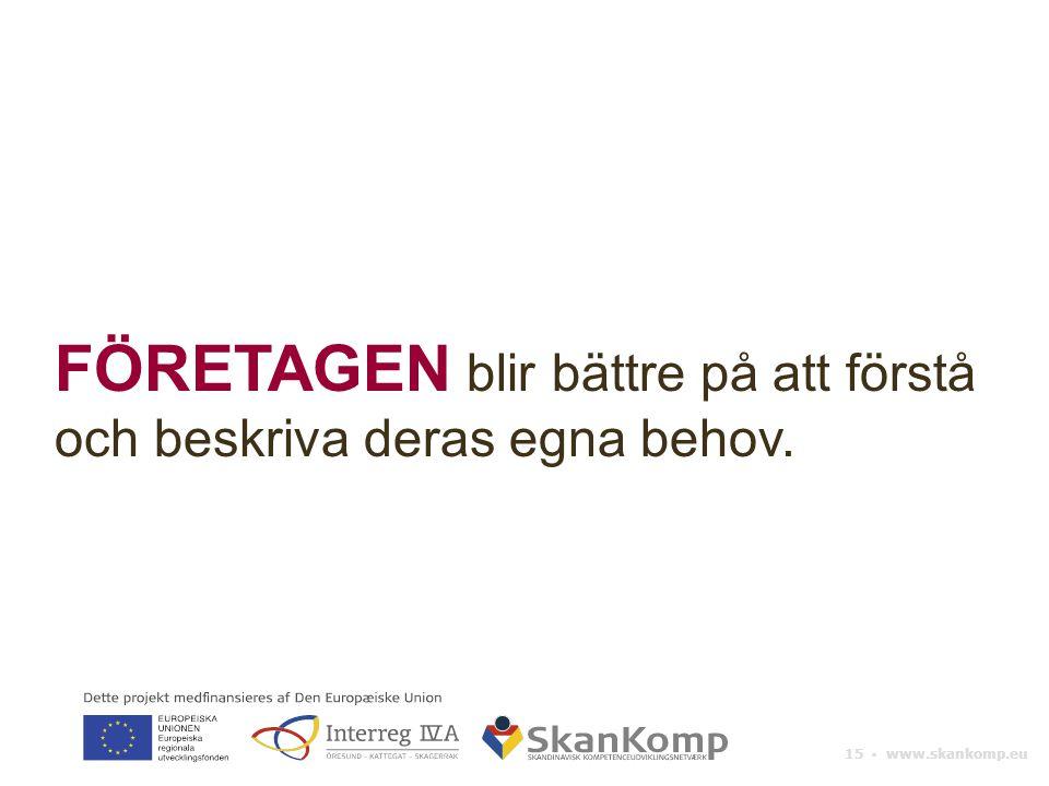 15 ▪ www.skankomp.eu FÖRETAGEN blir bättre på att förstå och beskriva deras egna behov.