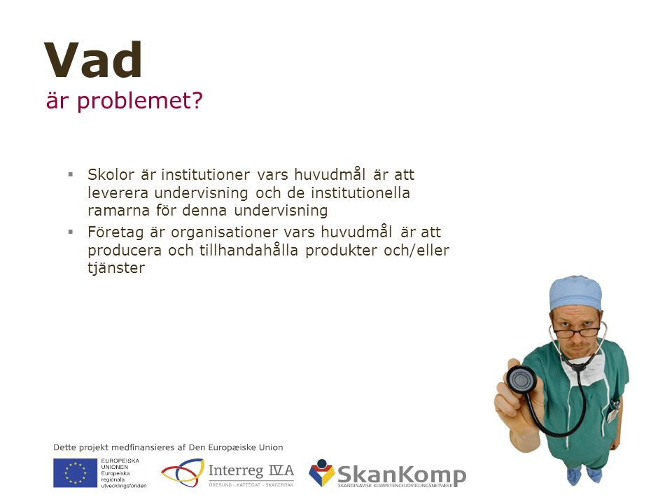 17 ▪ www.skankomp.eu Vad är problemet?  Skolor är institutioner vars huvudmål är att leverera undervisning och de institutionella ramarna för denna u