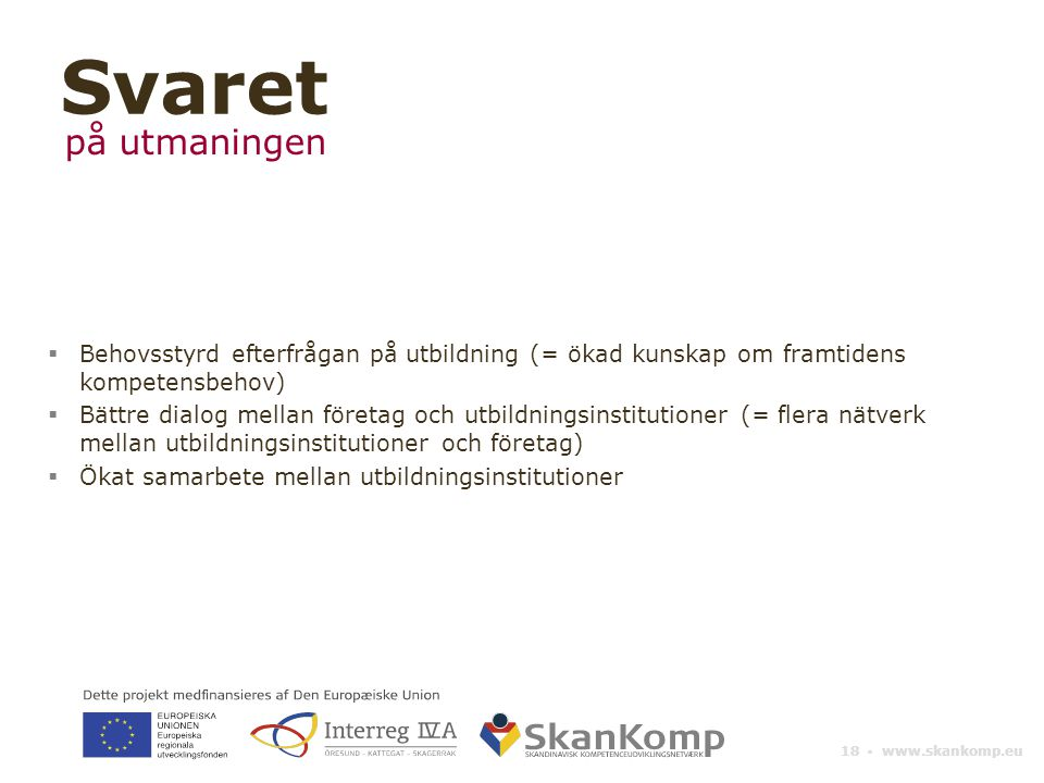 18 ▪ www.skankomp.eu  Behovsstyrd efterfrågan på utbildning (= ökad kunskap om framtidens kompetensbehov)  Bättre dialog mellan företag och utbildningsinstitutioner (= flera nätverk mellan utbildningsinstitutioner och företag)  Ökat samarbete mellan utbildningsinstitutioner Svaret på utmaningen