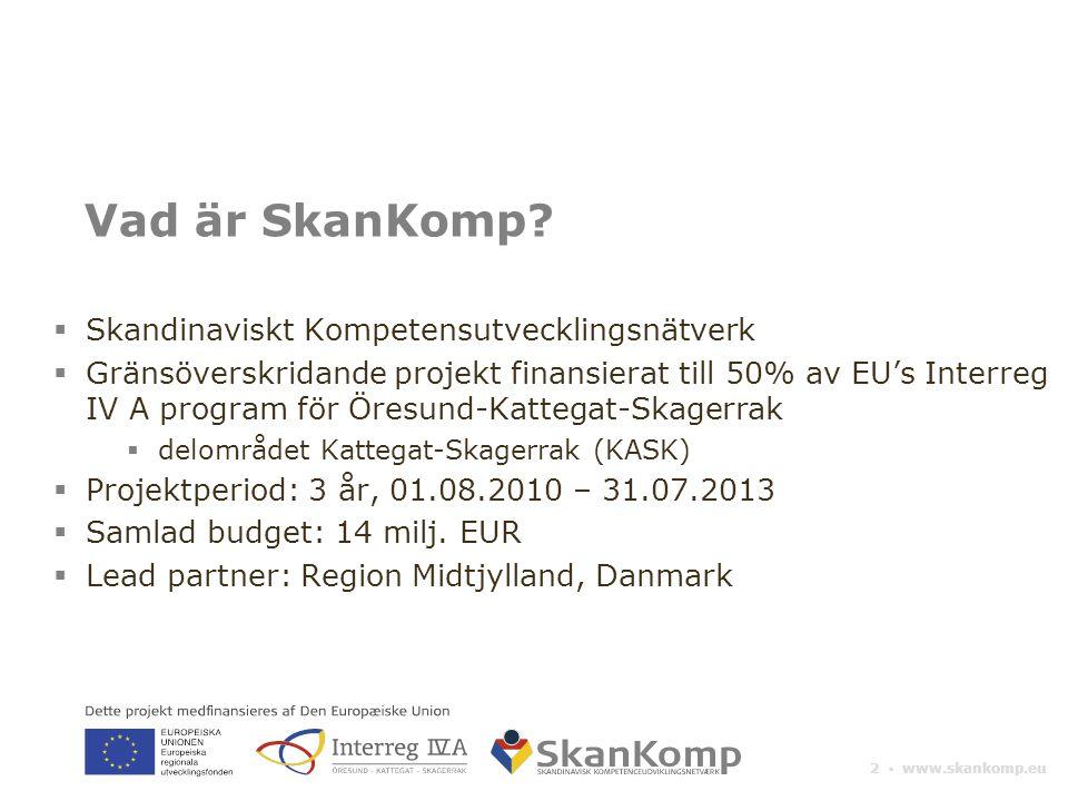 2 ▪ www.skankomp.eu Vad är SkanKomp?  Skandinaviskt Kompetensutvecklingsnätverk  Gränsöverskridande projekt finansierat till 50% av EU's Interreg IV