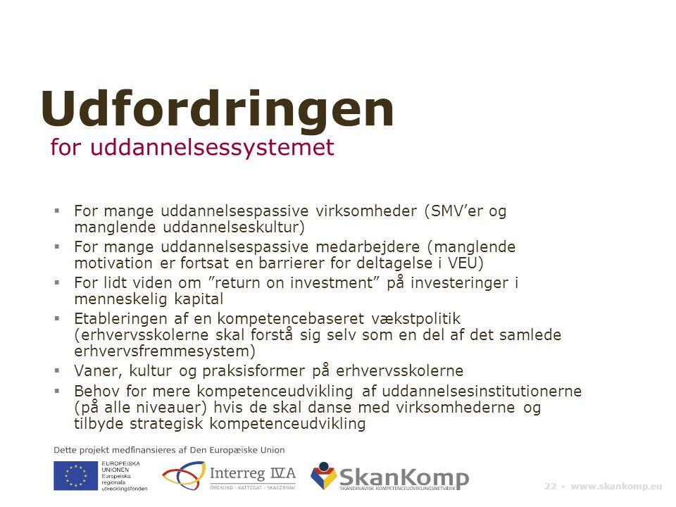 22 ▪ www.skankomp.eu  For mange uddannelsespassive virksomheder (SMV'er og manglende uddannelseskultur)  For mange uddannelsespassive medarbejdere (