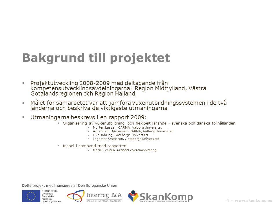 4 ▪ www.skankomp.eu Bakgrund till projektet  Projektutveckling 2008-2009 med deltagande från kompetensutvecklingsavdelningarna i Region Midtjylland,