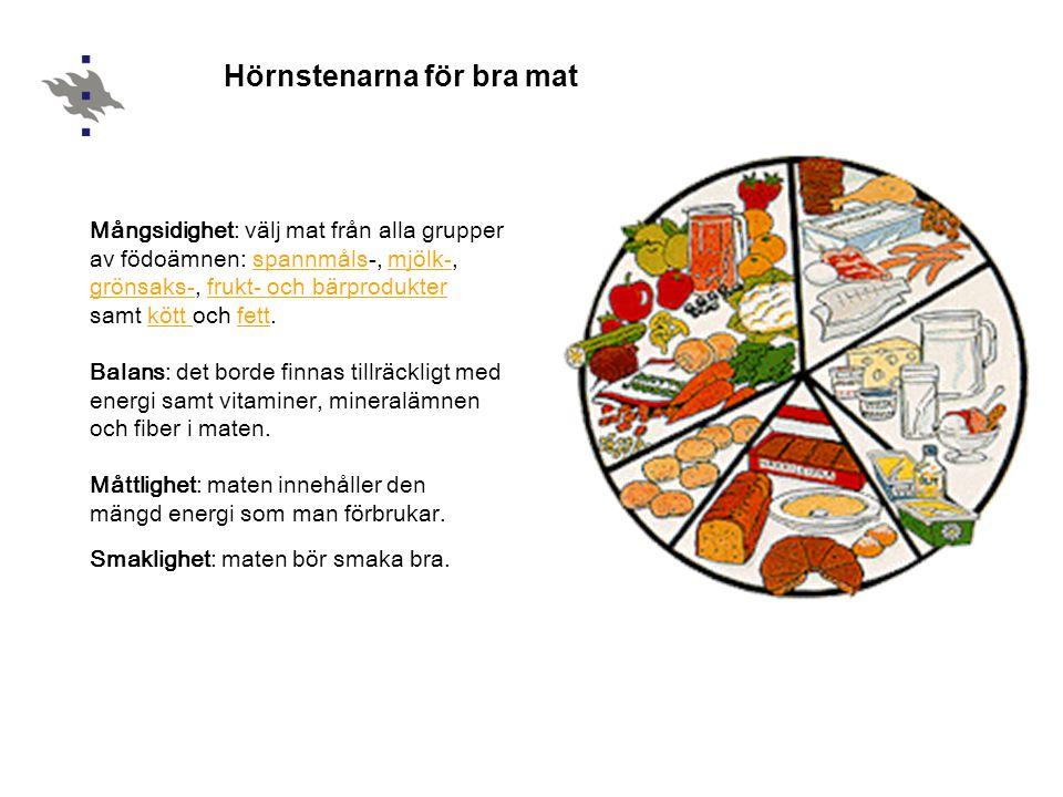 Hörnstenarna för bra mat Mångsidighet: välj mat från alla grupper av födoämnen: spannmåls-, mjölk-, grönsaks-, frukt- och bärprodukter samt kött och fett.spannmålsmjölk- grönsaks-frukt- och bärprodukterkött fett Balans: det borde finnas tillräckligt med energi samt vitaminer, mineralämnen och fiber i maten.