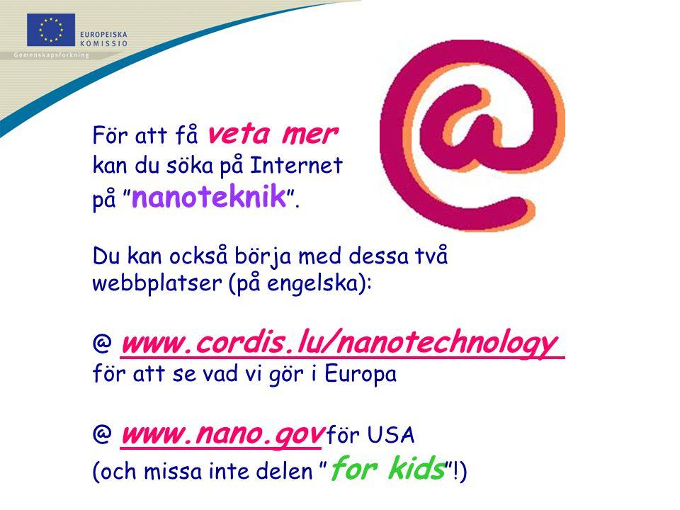 """För att få veta mer kan du söka på Internet på """" nanoteknik """". Du kan också börja med dessa två webbplatser (på engelska): @ www.cordis.lu/nanotechnol"""