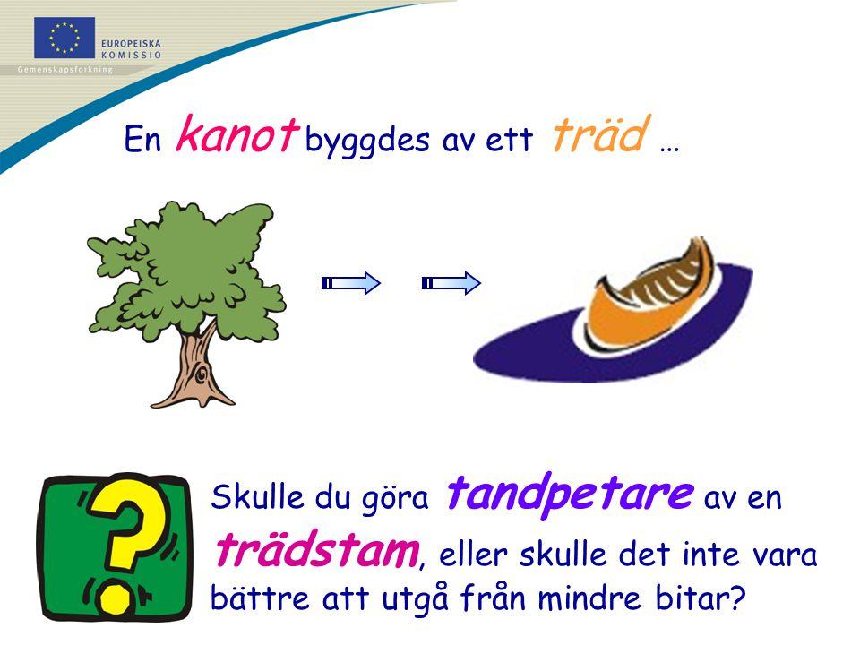 En kanot byggdes av ett träd … Skulle du göra tandpetare av en trädstam, eller skulle det inte vara bättre att utgå från mindre bitar?