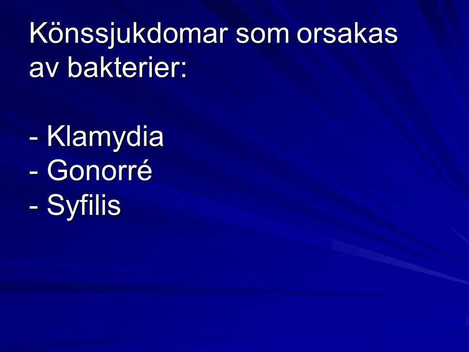 1- Klamydia Vanligaste könssjukdomen.