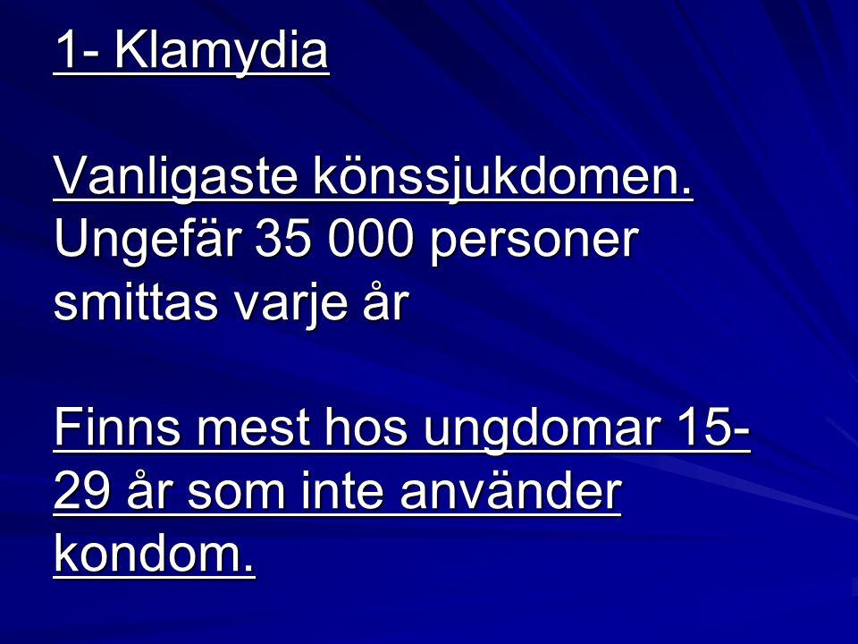 1- Klamydia Vanligaste könssjukdomen. Ungefär 35 000 personer smittas varje år Finns mest hos ungdomar 15- 29 år som inte använder kondom.