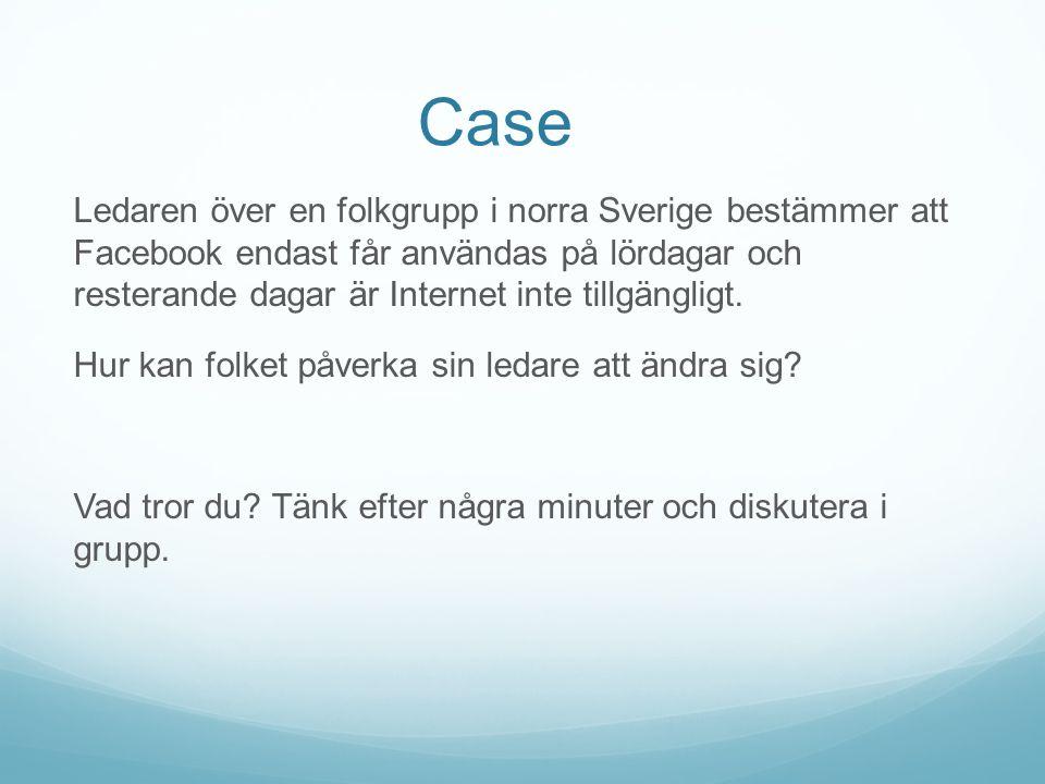 Case Ledaren över en folkgrupp i norra Sverige bestämmer att Facebook endast får användas på lördagar och resterande dagar är Internet inte tillgängli