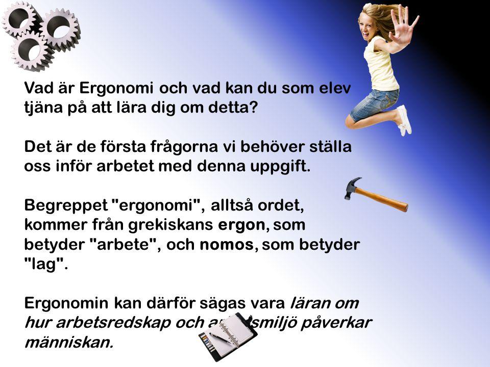 Vad är Ergonomi och vad kan du som elev tjäna på att lära dig om detta? Det är de första frågorna vi behöver ställa oss inför arbetet med denna uppgif