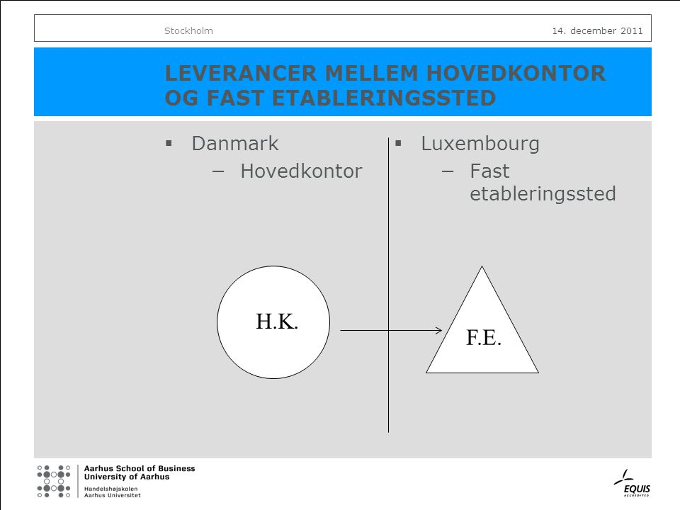 LEVERANCER MELLEM HOVEDKONTOR OG FAST ETABLERINGSSTED  Danmark −Hovedkontor  Luxembourg −Fast etableringssted Stockholm14.