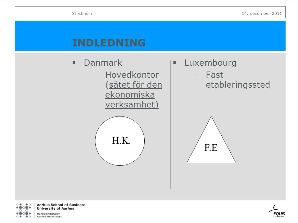 INDLEDNING  Danmark −Hovedkontor (sätet för den ekonomiska verksamhet)  Luxembourg −Fast etableringssted Stockholm14.