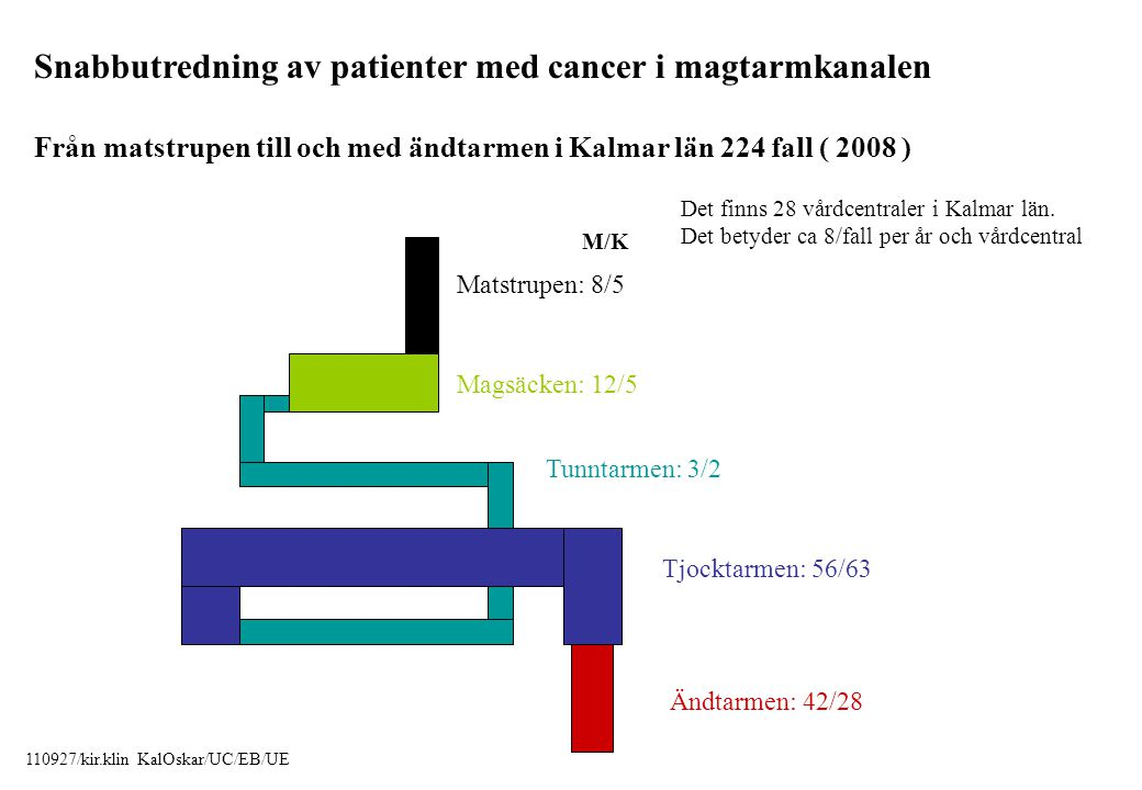 Snabbutredning av patienter med cancer i magtarmkanalen Från matstrupen till och med ändtarmen i Kalmar län 224 fall ( 2008 ) Matstrupen: 8/5 Magsäcke