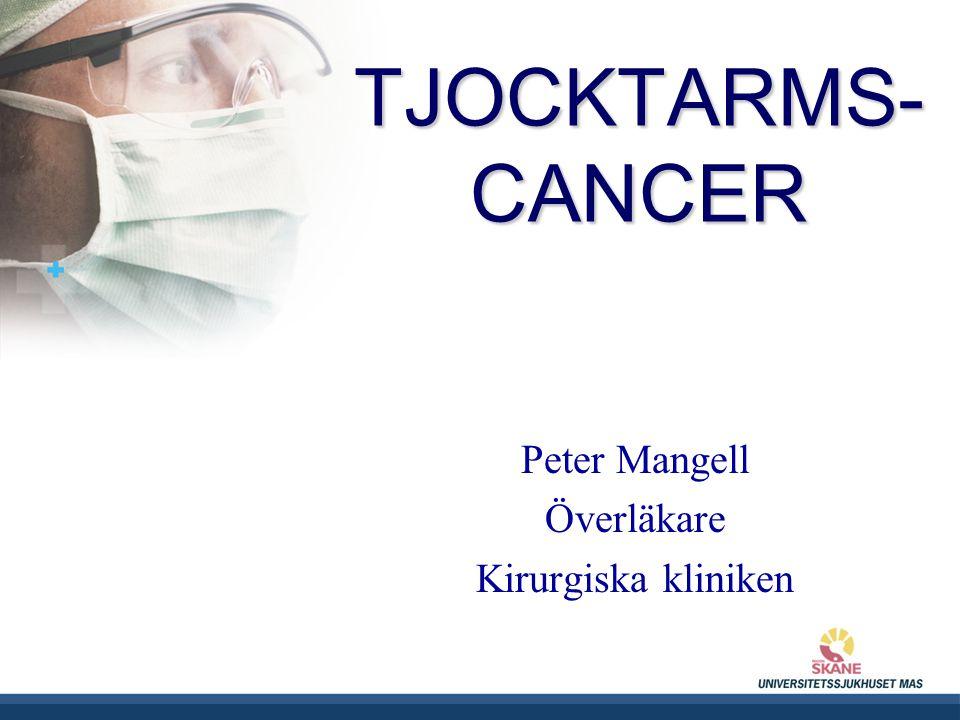 UNIVERSITETSSJUKHUSET MAS TJOCKTARMS- CANCER Peter Mangell Överläkare Kirurgiska kliniken