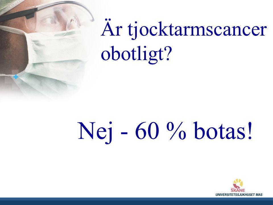 UNIVERSITETSSJUKHUSET MAS Är tjocktarmscancer obotligt? Nej - 60 % botas!