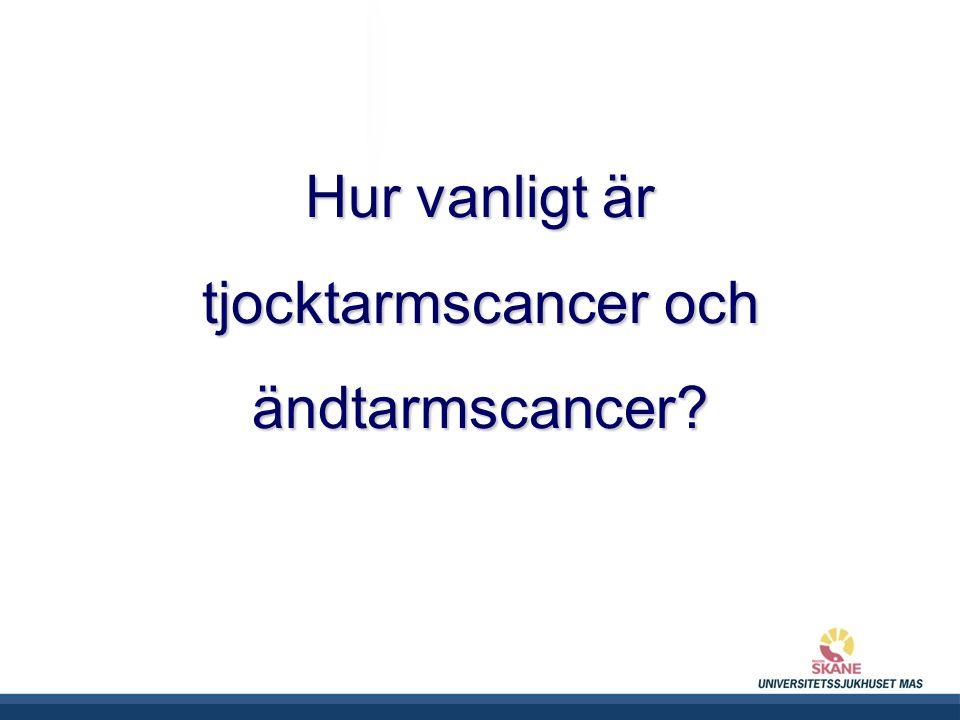 UNIVERSITETSSJUKHUSET MAS Hur vanligt är tjocktarmscancer och ändtarmscancer?