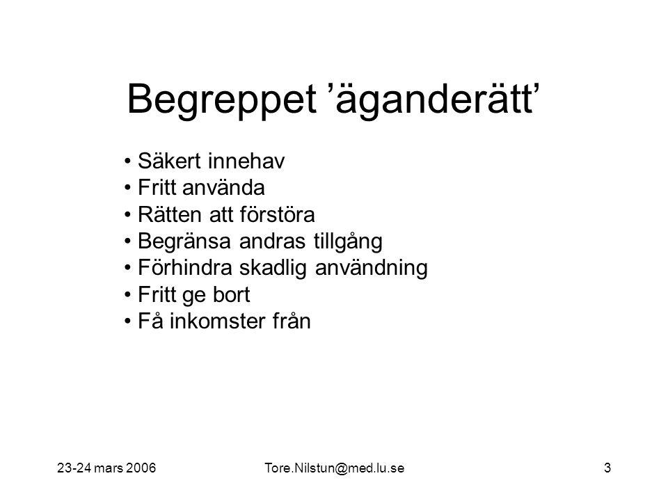 23-24 mars 2006Tore.Nilstun@med.lu.se3 Begreppet 'äganderätt' Säkert innehav Fritt använda Rätten att förstöra Begränsa andras tillgång Förhindra skad