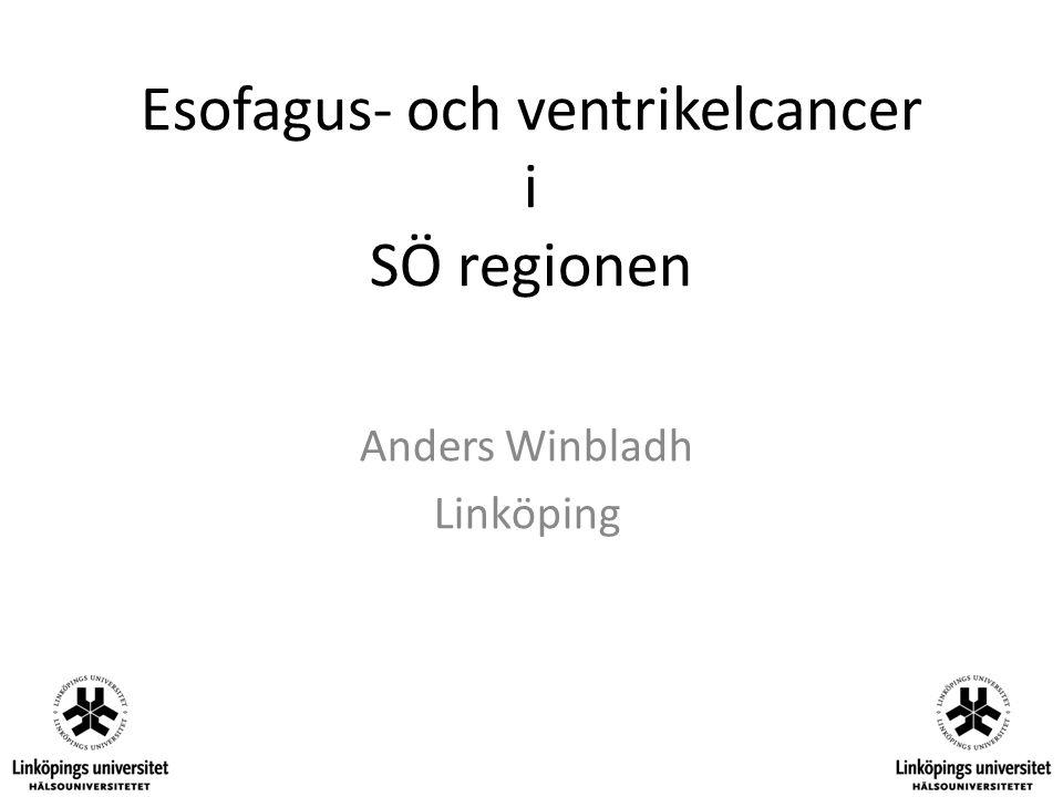Döda inom 30 dagar från operationsdatum 2006-2008 Antal döda (%) Antal patienter Esofagektomi 10 (2.3) 417 Gastrektomi 26 (3.8) 692 Totalt 40 (3.3) 1228