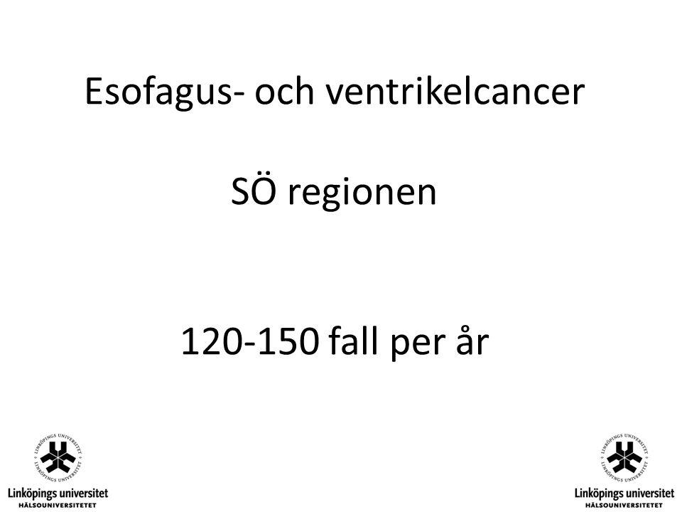 Centralisering i SÖ regionen Samtliga (utom Kalmar) esofagustumörer och gastrektomier remitteras till Linköping för bedömning.